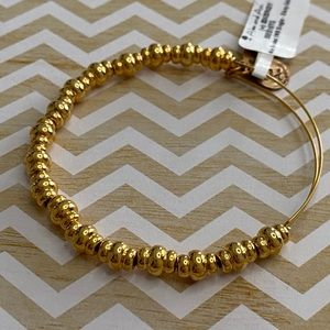 Alex and Ani Nile Beaded Bangle In Shiny Gold NWT